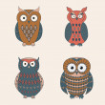 Vector set of decorative cute owls — Stock Vector #35614211