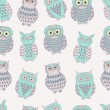 Vector colorful seamless pattern with cute different owls — Stock Vector