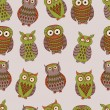 Vector colorful seamless pattern with different owls — Stock Vector