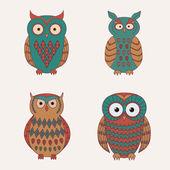 Vector set of decorative cute owls — Stock Vector