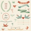 Vector wedding set with birds, hearts, arrows, ribbons, wreaths, — Stok Vektör