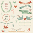 Vector wedding set with birds, hearts, arrows, ribbons, wreaths, — Векторная иллюстрация