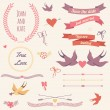 Vector wedding set with birds, hearts, arrows, ribbons, wreaths, — Vettoriali Stock