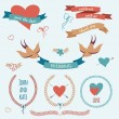 Vector wedding set with birds, hearts, arrows, ribbons, wreaths, — Vektorgrafik