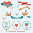 Vector wedding set with birds, hearts, arrows, ribbons, wreaths, — Stock Vector
