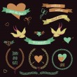Vector wedding set with birds, hearts, arrows, ribbons, wreaths, — Stock vektor