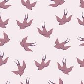 Vector seamless pattern with swallows — Cтоковый вектор