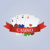 Vector casino illustration with ribbon, playing cards, dices and — Stock Vector