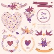 Vector wedding set with bouquets, birds, hearts, arrows, ribbons, wreaths, flowers, bows, laurel — Stock Vector