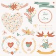 Stock Vector: Vector wedding set with bouquets, birds, hearts, arrows, ribbons