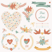 Vector wedding set with bouquets, birds, hearts, arrows, ribbons — Stock Vector