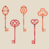 Vector set of cute vintage keys — Stock Vector