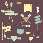 Vector set with ethnic arrows, ribbons, flags, hearts — Stock Vector