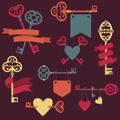 Vector set with vintage keys, ribbons and hearts. Can be used fo — Stock Vector