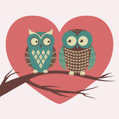 Vector colorful illustration with two owls in love sitting on a — Stock Vector