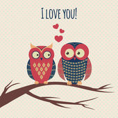 Vector colorful illustration with two owls in love sitting on a — Stok Vektör