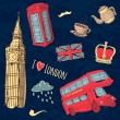 Vector colorful set of hand-drawn London symbols — Stock Vector