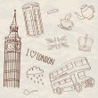 Vector set of hand-drawn London symbols — Stock Vector