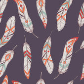 Vector seamless ethnic pattern with feathers — Stock Vector