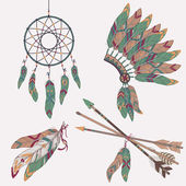 Vector ethnic set: dream catcher, feathers, arrows, headdress — Stock Vector