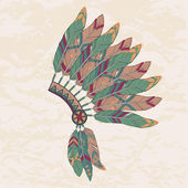Vector illustration of native american indian chief headdress — Vecteur