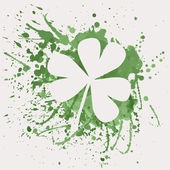 Vector illustration of shamrock for St. Patrick's Day with splash — Stock Vector