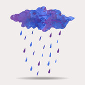 Vector colorful illustration of watercolor rainy cloud — Stock Vector