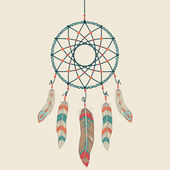 Vector colorful illustration of dream catcher — Vecteur