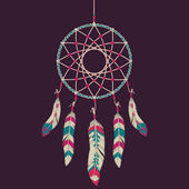 Vector colorful illustration of dream catcher — Stock Vector