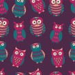 Vector colorful seamless pattern with cute different owls. Can b — Stock Vector