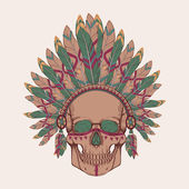 Vector illustration of human skull in native american indian chief headdress — Vecteur