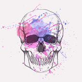 Vector illustration of human skull with watercolor splash — Stock Vector
