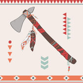 Vector illustration of native American indian tomahawk — Vecteur