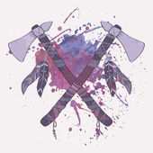 Vector grunge illustration of native American indian tomahawks with watercolor splash — Vecteur