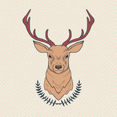 Vector hand drawn colorful illustration of deer and laurel — 图库矢量图片