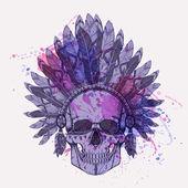 Vector grunge illustration of human skull in native american indian chief headdress with watercolor splash — Vecteur