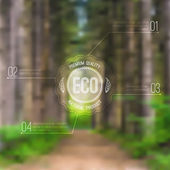 Vector ecological blurred illustration with road, trees and eco label. Can be used for website design, infographic. — Stock Vector