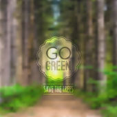 "Vector ecological blurred illustration with road, trees and label ""Go green"" — Vector de stock"