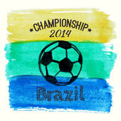 Vector illustration with watercolor ball dedicated to Brazil 2014 soccer championship — Stock Vector