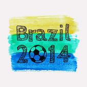 Vector illustration with watercolor ball dedicated to Brazil 2014 soccer championship — Stok Vektör