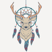 Vector illustration with deer and dream catcher — Stock Vector