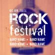 Vector blurred background with acoustic guitar. Rock festival design template with watercolor splatter and place for text. — Stock Vector #49269841