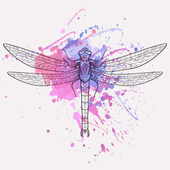 Vector illustration of dragonfly with watercolor splash — Stock Vector