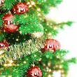 Christmas tree with gift — Stock Photo