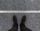 Feet are on road — Stok fotoğraf