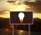 Poster with lamp — Stock Photo