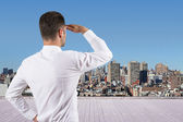 Man looking at city — Stock Photo