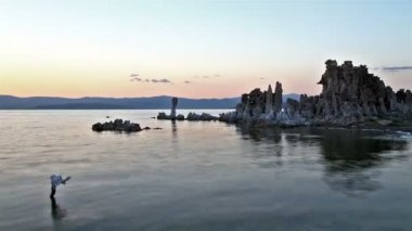 Mono Lake at sunset — Stok video