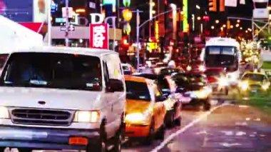 Timelapse de tráfego de times square — Vídeo stock
