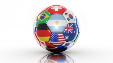 Soccer ball with flags — Stock Video